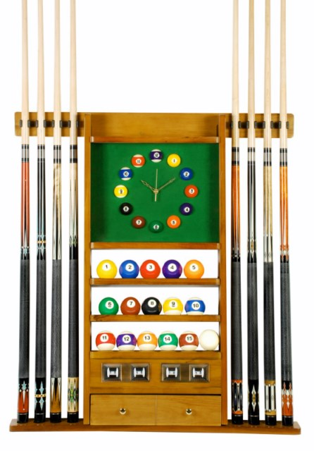 Cue Rack Only - 8 Pool - Billiard Stick \u0026 Ball Set Wall Rack W Clock  sc 1 th 269 & Pool Table Accessory Kits Cue Racks Cases Lights Ball Sets